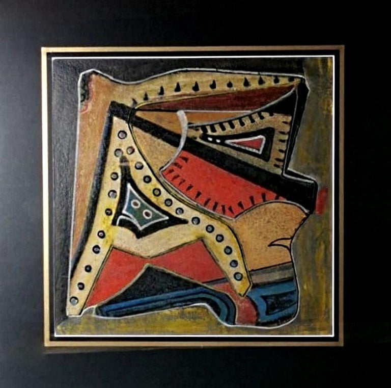 Modern Mixed Technique Russian Constructivism Picture on Cardboard, 20th Century For Sale
