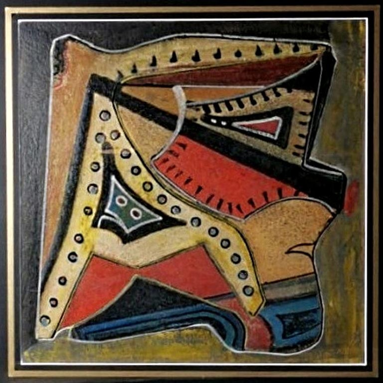 Gilt Mixed Technique Russian Constructivism Picture on Cardboard, 20th Century For Sale