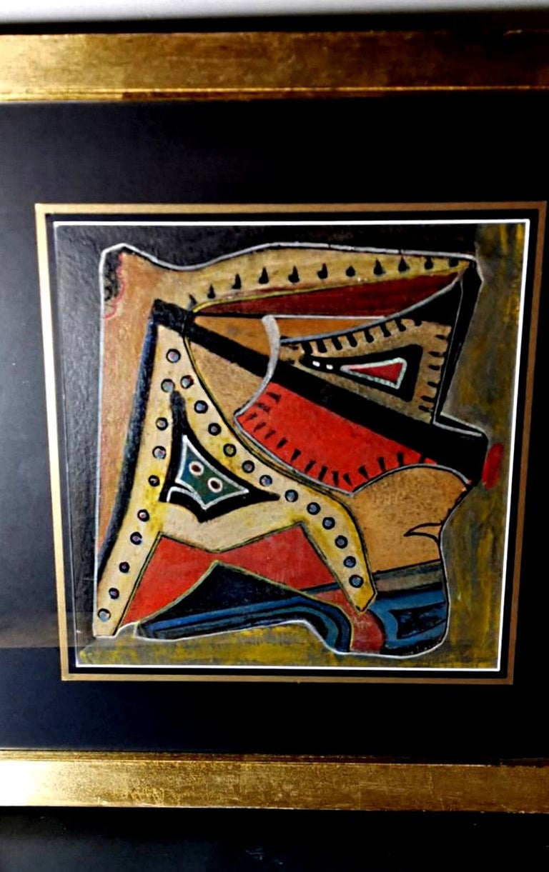 Mixed Technique Russian Constructivism Picture on Cardboard, 20th Century In Good Condition For Sale In Prato, Tuscany