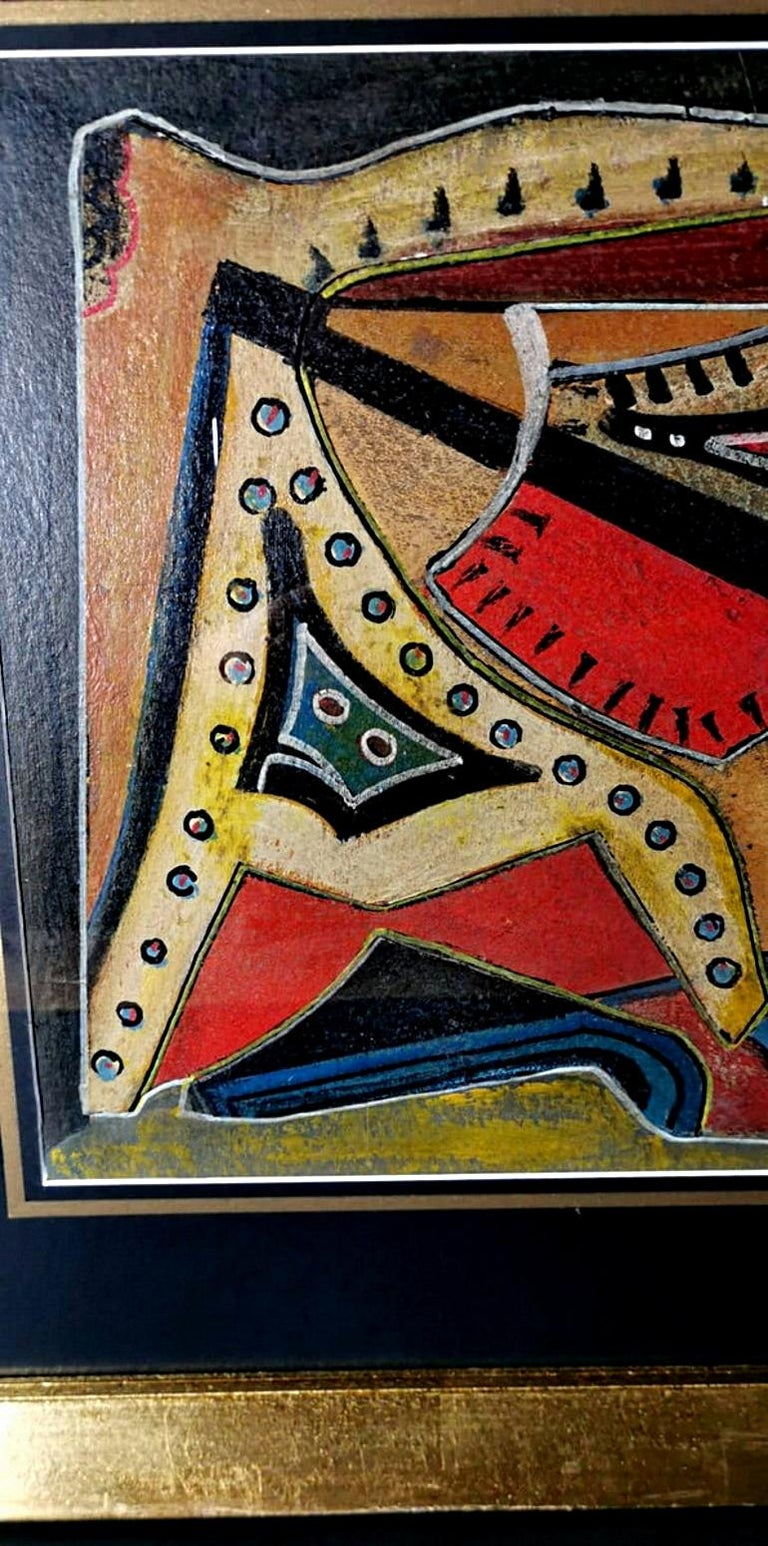 Other Mixed Technique Russian Constructivism Picture on Cardboard, 20th Century For Sale