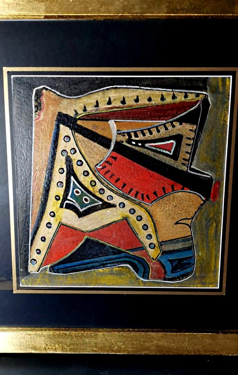 Mixed Technique Russian Constructivism Picture on Cardboard, 20th Century For Sale 1