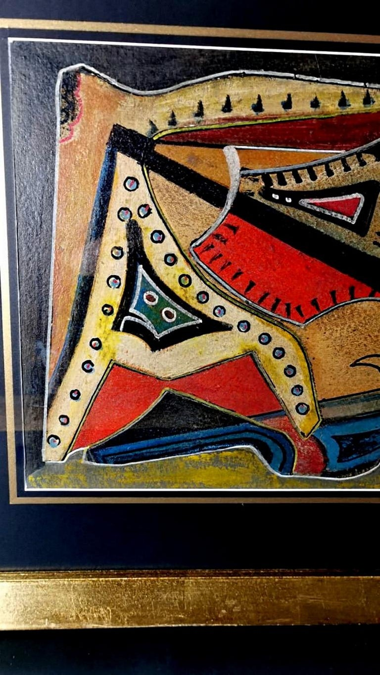 Mixed Technique Russian Constructivism Picture on Cardboard, 20th Century For Sale 3