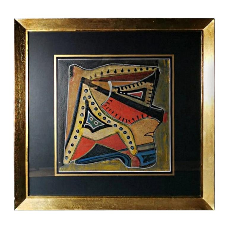 Mixed Technique Russian Constructivism Picture on Cardboard, 20th Century For Sale