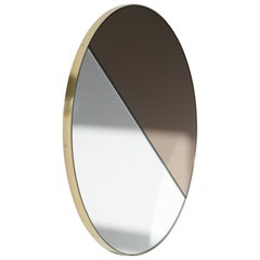 Mixed Tints Dualis Orbis Circular Mirror with Brass Frame, Oversized