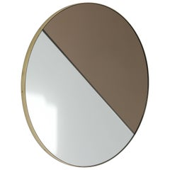 Mixed Tints Dualis Orbis Round Mirror with Brass Frame, Regular Size