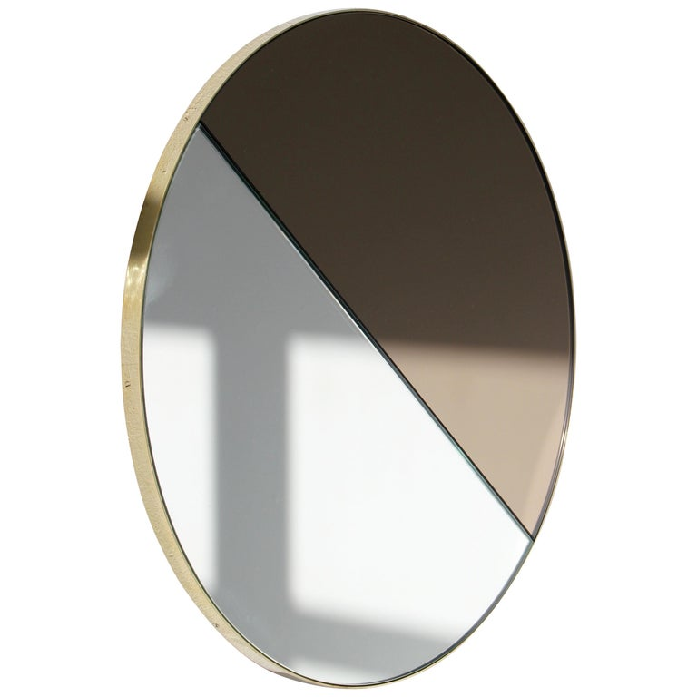 Mixed Tints Dualis Orbis Round Modern Mirror with Brass Frame, Large Size For Sale
