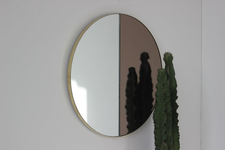 Mixed Tints Dualis Orbis Round Modern Mirror with Brass Frame, Large Size For Sale 5