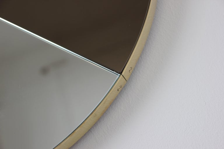 British Mixed Tints Dualis Orbis Round Modern Mirror with Brass Frame, Large Size For Sale
