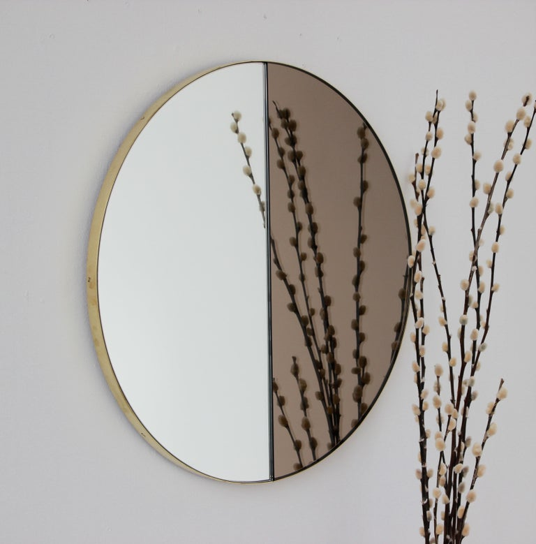 Contemporary Mixed Tints Dualis Orbis Round Modern Mirror with Brass Frame, Large Size For Sale