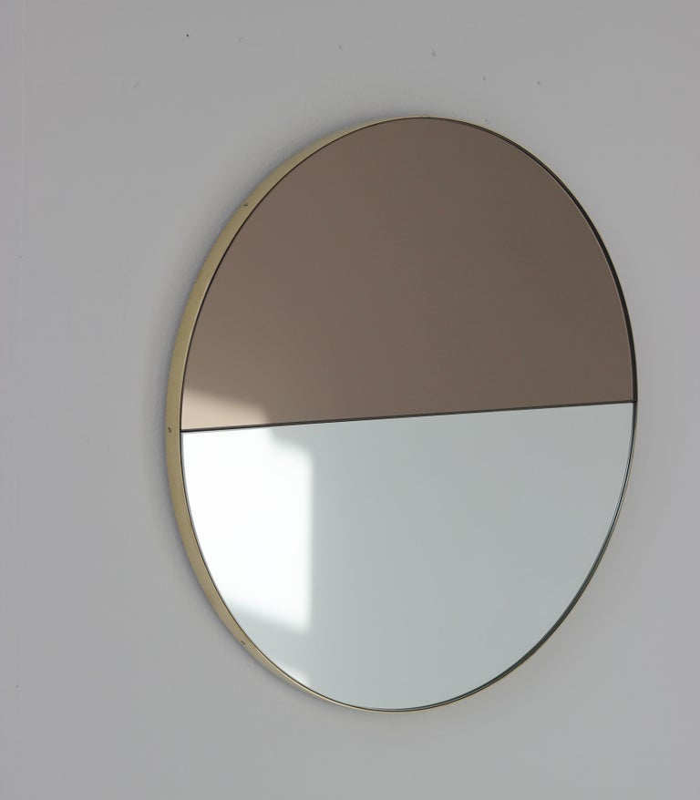 Mixed Tints Dualis Orbis Round Modern Mirror with Brass Frame, Large Size For Sale 1