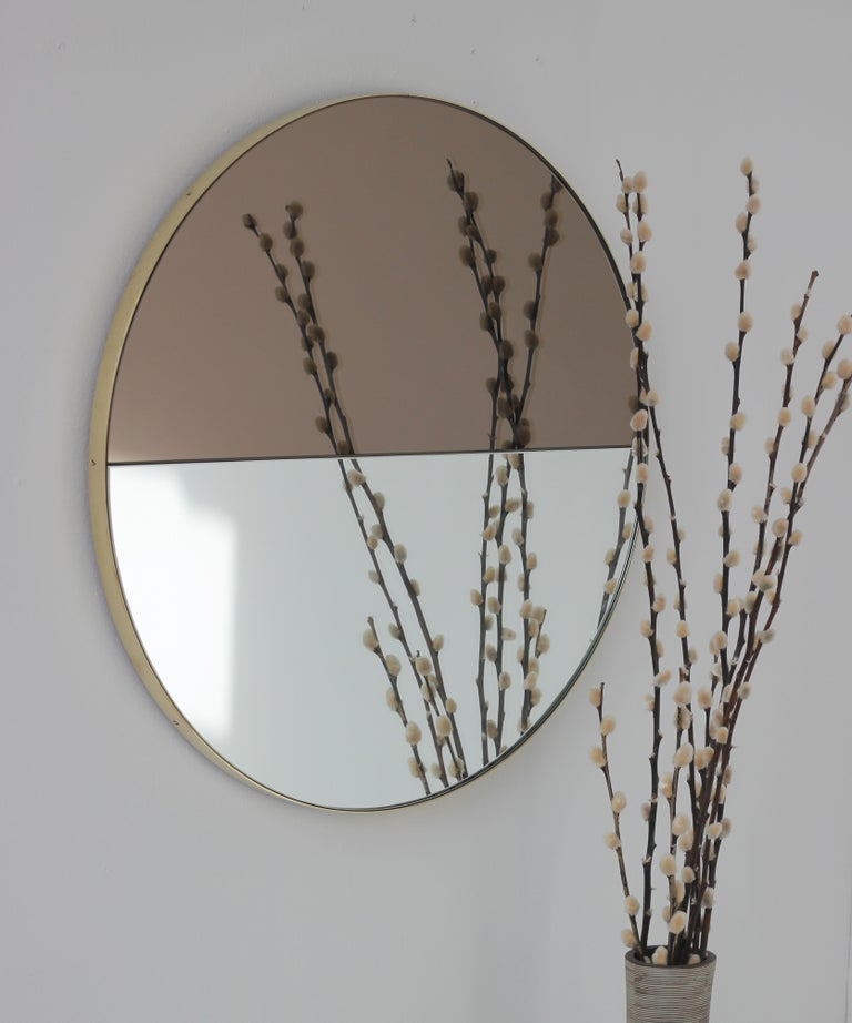 Mixed Tints Dualis Orbis Round Modern Mirror with Brass Frame, Large Size For Sale 2