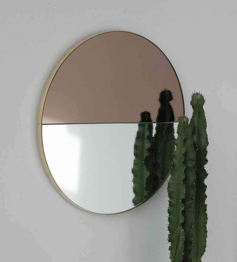 Mixed Tints Dualis Orbis Round Modern Mirror with Brass Frame, Large Size For Sale 3
