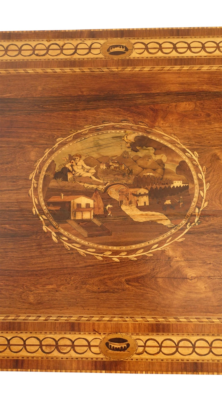 Mixed Woods Marquetry Inlaid Writing Table, Northern Italian, Late 18th Century For Sale 4