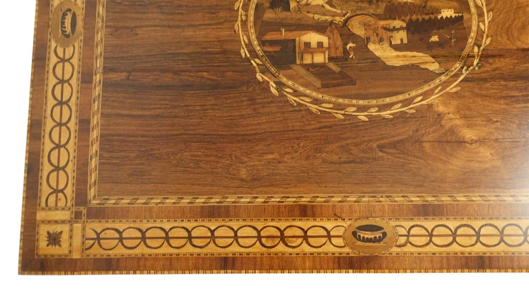 Mixed Woods Marquetry Inlaid Writing Table, Northern Italian, Late 18th Century For Sale 7