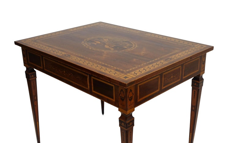 Mixed Woods Marquetry Inlaid Writing Table, Northern Italian, Late 18th Century For Sale 8