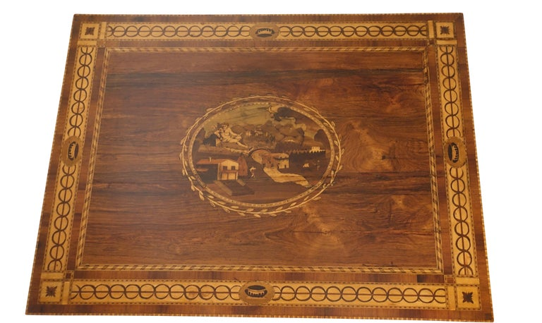 Neoclassical Mixed Woods Marquetry Inlaid Writing Table, Northern Italian, Late 18th Century For Sale