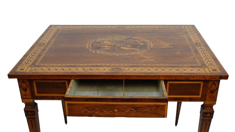 Inlay Mixed Woods Marquetry Inlaid Writing Table, Northern Italian, Late 18th Century For Sale