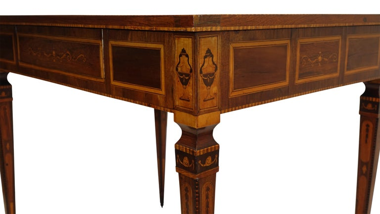 Walnut Mixed Woods Marquetry Inlaid Writing Table, Northern Italian, Late 18th Century For Sale