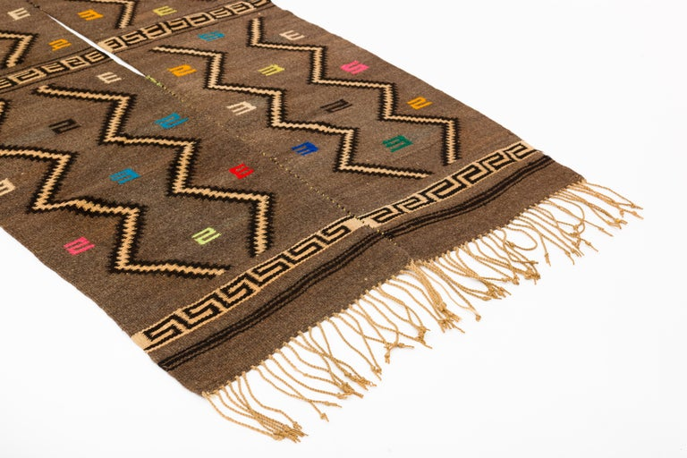Mixtec wool serape blanket, handwoven with traditional cloud and thunder symbols.