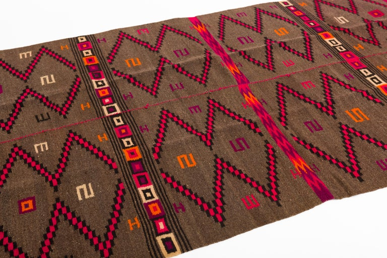Handwoven wool serape blanket from the highlands of Oaxaca, Mexico with traditional Mixtec symbols, circa 1950s.