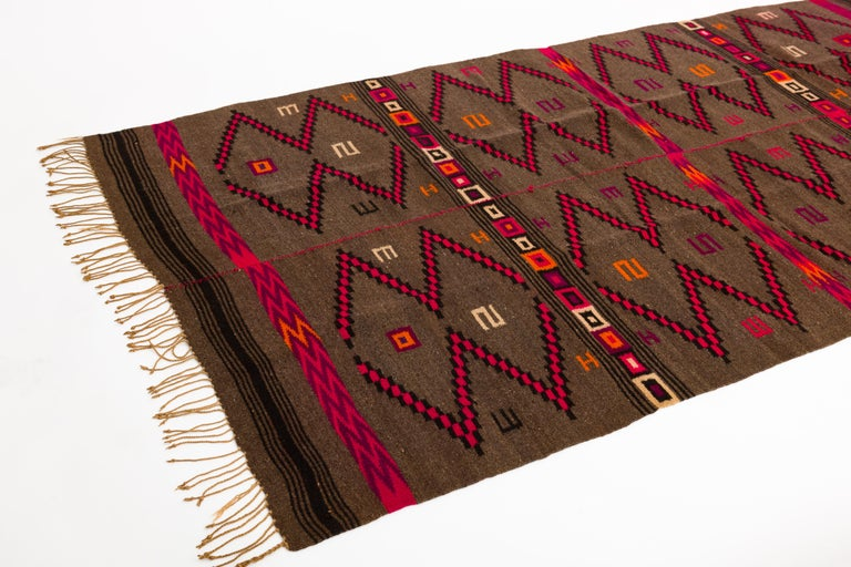 Hand-Woven Mixtec Mexican Colorful Serape Blanket For Sale