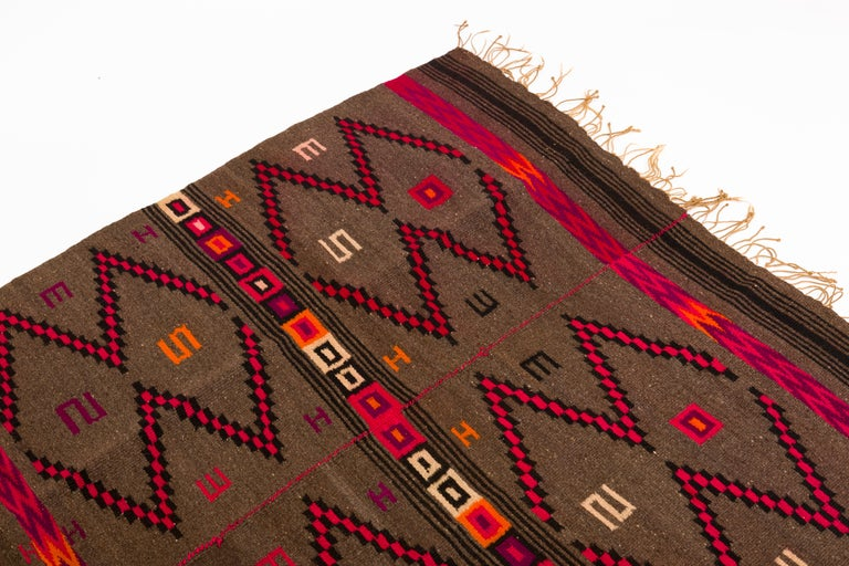 Mixtec Mexican Colorful Serape Blanket In Good Condition For Sale In New York, NY