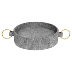 'Mixteca' Pot Handmade in Volcanic Rock and Brass Rings