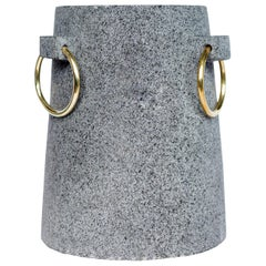 'Mixteca' Vase Handmade in Volcanic Rock and Brass Rings