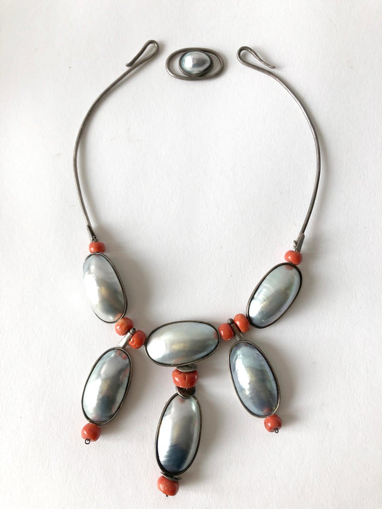 Oval Cut Miye Matsukata Atelier Janiye Sterling Mabe Pearl Coral Modernist Necklace For Sale