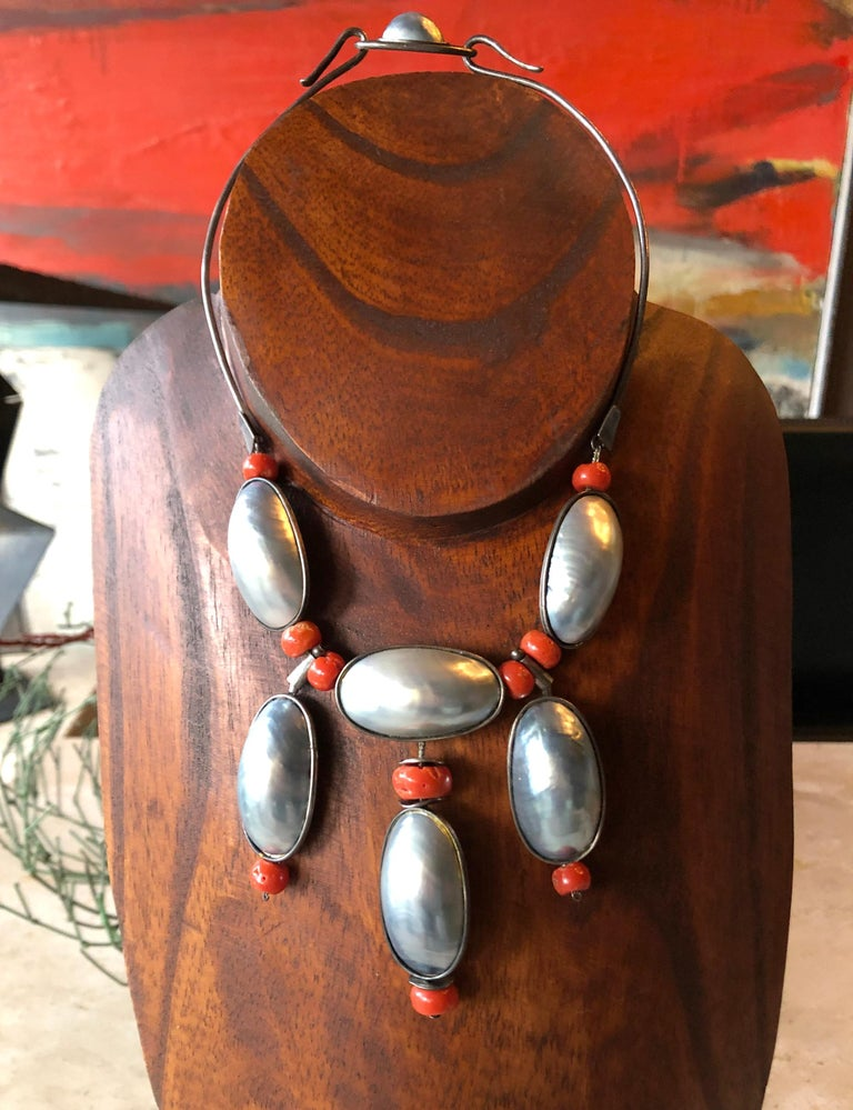 Miye Matsukata Atelier Janiye Sterling Mabe Pearl Coral Modernist Necklace For Sale 2