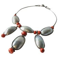 Miye Matsukata Atelier Janiye Sterling Mabe Pearl Coral Modernist Necklace