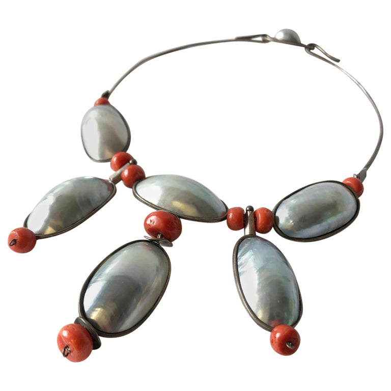 Miye Matsukata Atelier Janiye Sterling Mabe Pearl Coral Modernist Necklace For Sale