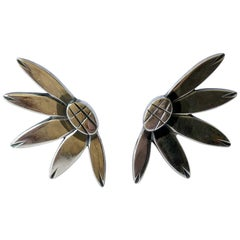 Miye Matsukata for Janiye Modernist Sterling Silver Floral Leaf Earrings