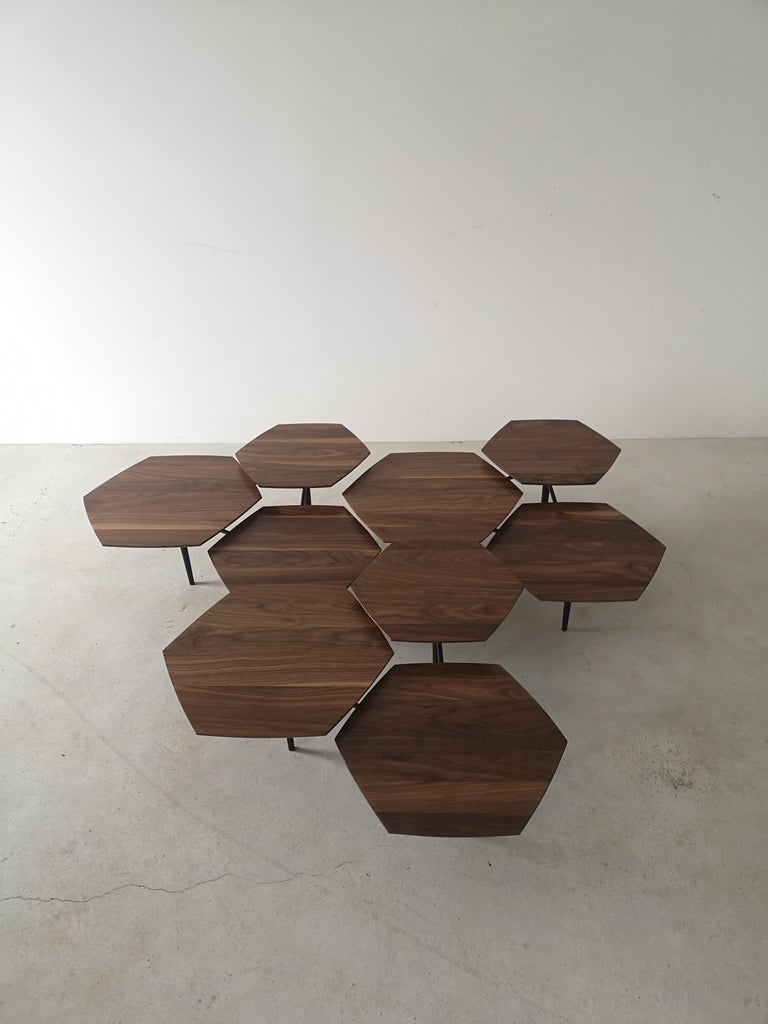 Modern Mizmo 2.0 Solid Walnut top Multi Tiered Coffee Table by Izm Design For Sale