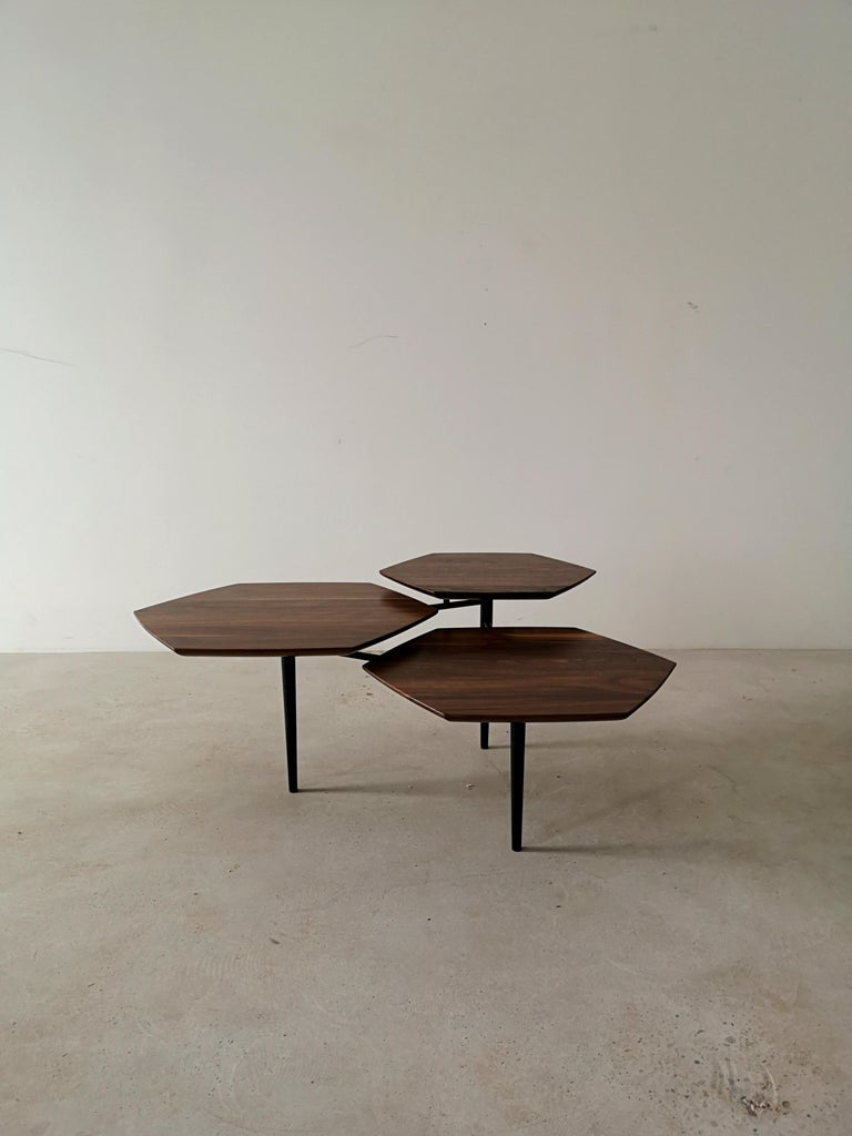 Canadian Mizmo 2.0 Solid Walnut top Multi Tiered Coffee Table by Izm Design For Sale