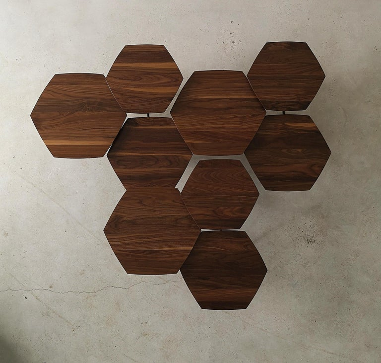 Hand-Crafted Mizmo 2.0 Solid Walnut top Multi Tiered Coffee Table by Izm Design For Sale