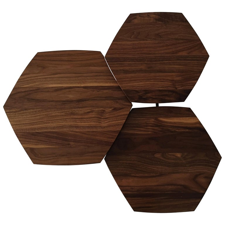Mizmo 2.0 Solid Walnut top Multi Tiered Coffee Table by Izm Design For Sale
