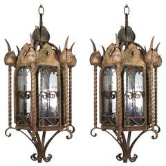 Mizner Outdoor Pair Seed Glass Iron Lanterns-Rusticated Finish-circa 1900