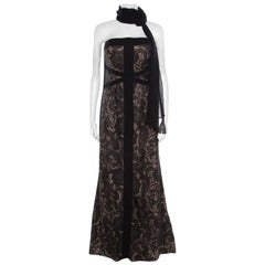 ML by Monique Lhuillier Black and Beige Floral Embroidered Tulle StraplessGown L