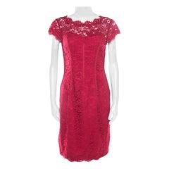 ML by Monique Lhuillier Pink Floral Lace Trim Cut Out Back Detail Dress M