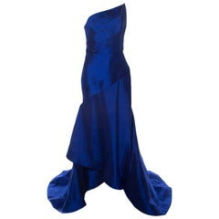 ML Monique Lhuillier Blue Beaded Detail Faille Trumpet Gown L