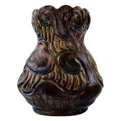 Møller & Bøgely, Denmark, Art Nouveau Pottery Vase of Glazed Ceramics