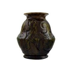 Møller & Bøgely, Denmark, Art Nouveau Vase in Dark Green Glazed Ceramics