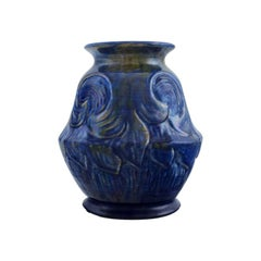 Møller & Bøgely, Denmark. Beautiful Ceramic Vase in Dark Blue Glazed Ceramics