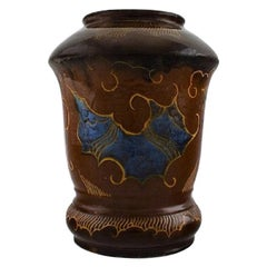 Møller & Bøgely, Denmark, Large Art Nouveau Vase in Glazed Ceramics, circa 1920