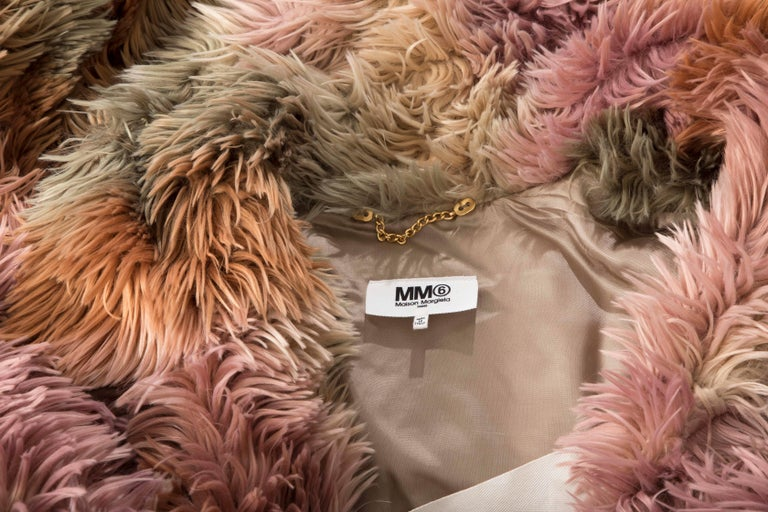 MM6 Maison Margiela Faux Fur Double Breasted Coat For Sale 5