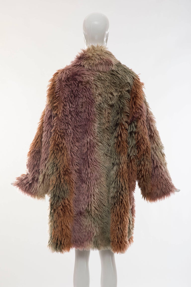 Brown MM6 Maison Margiela Faux Fur Double Breasted Coat For Sale