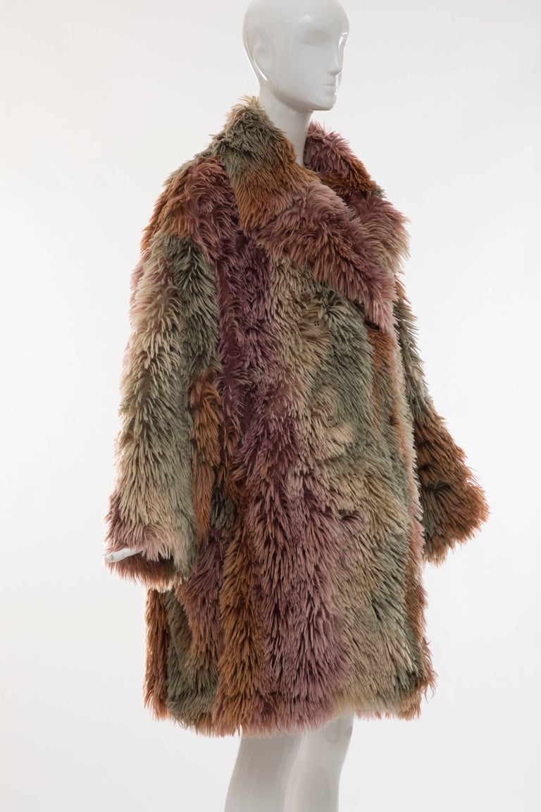 MM6 Maison Margiela Faux Fur Double Breasted Coat In Excellent Condition For Sale In Cincinnati, OH