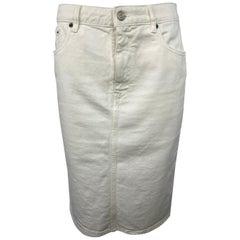 MM6 Maison Margiela White Denim Pencil Skirt, Size 42