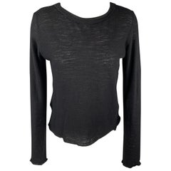 MM6 MARTIN MARGIELA Size S Black Wool Reverse Neckline Pullover